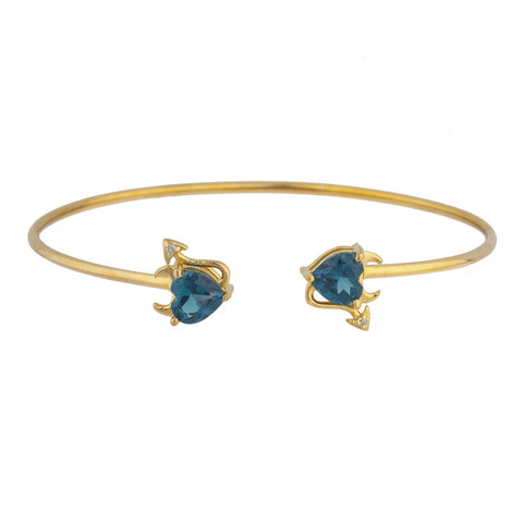 London Blue Topaz & Diamond Devil Heart Bangle Bracelet 14Kt Yellow Gold Rose Gold Silver