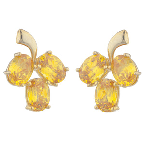 14Kt Yellow Gold Plated Yellow Citrine Oval Design Stud Earrings