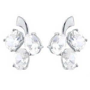 9 Ct White Sapphire Oval Design Stud Earrings .925 Sterling Silver