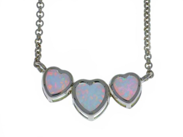 Opal Heart Bezel Pendant .925 Sterling Silver Rhodium Finish