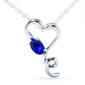 0.50 Ct Created Blue Sapphire Oval Heart Pendant .925 Sterling Silver Rhodium Finish
