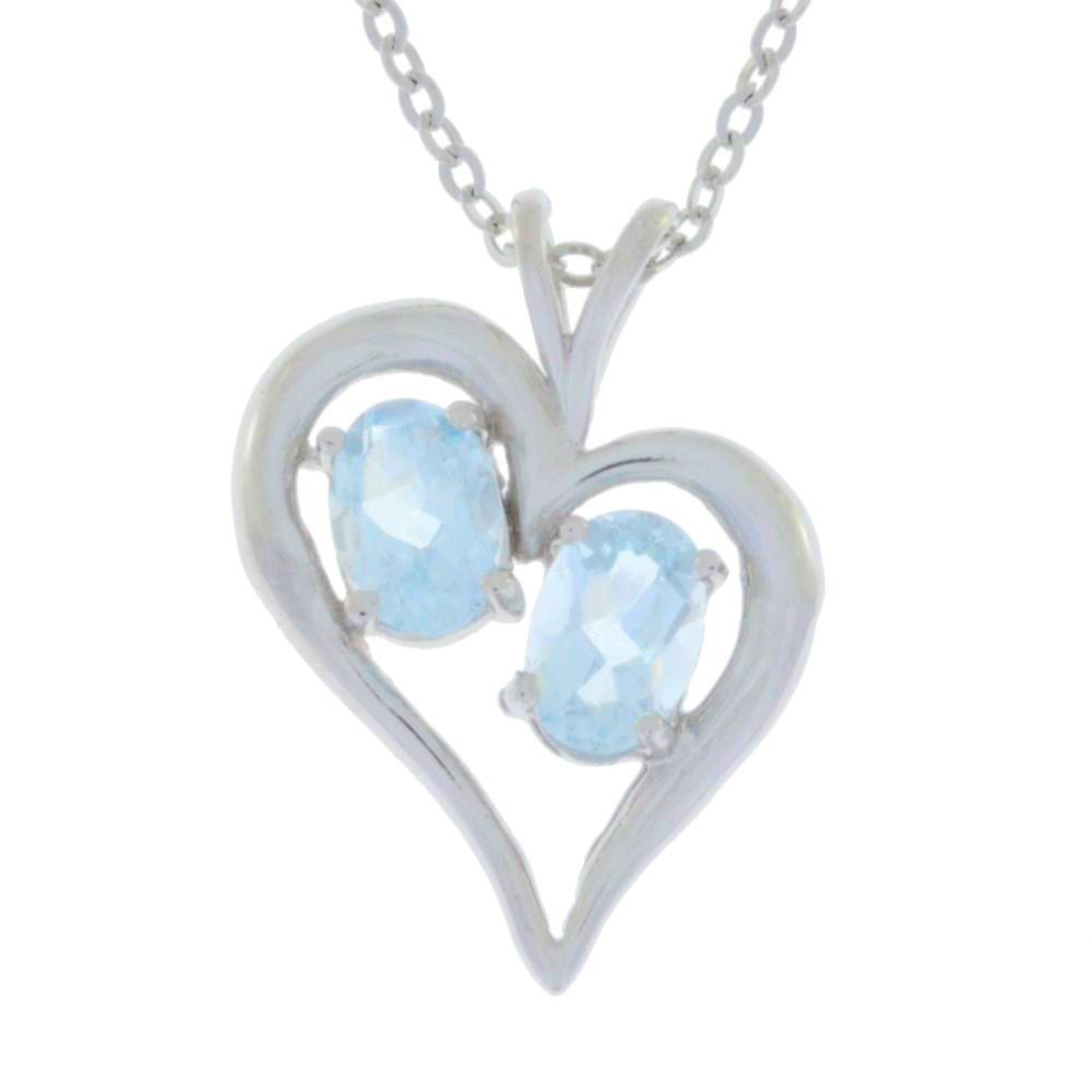 1 Ct Aquamarine Oval Heart Pendant .925 Sterling Silver