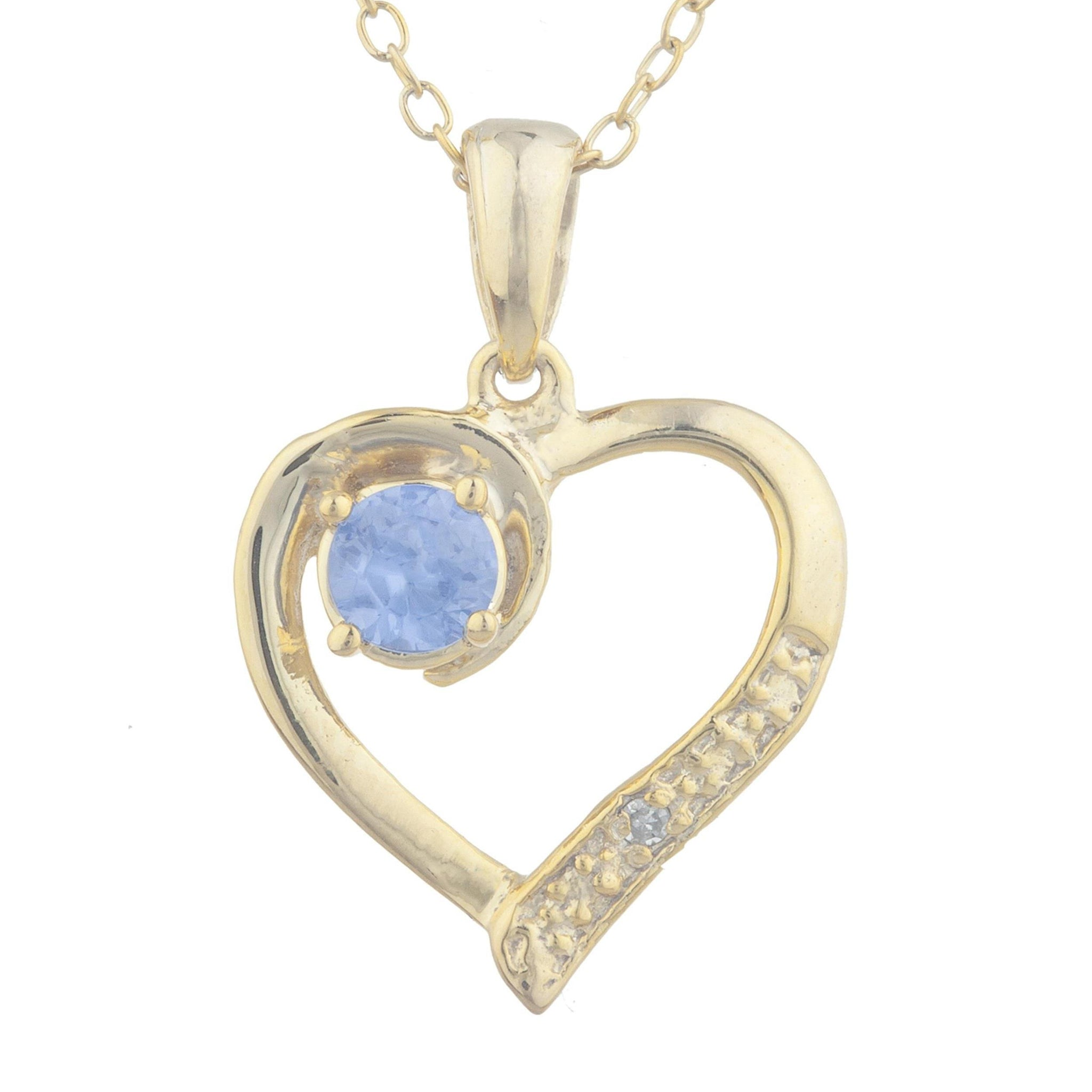 14Kt Yellow Gold Plated Tanzanite & Diamond Heart Pendant