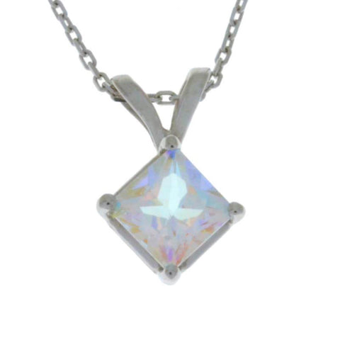 14Kt Gold Natural Mercury Mist Mystic Topaz Princess Cut Pendant Necklace