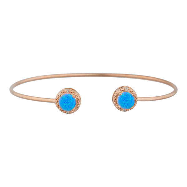 14Kt Rose Gold Plated Blue Opal & Diamond Round Bangle Bracelet