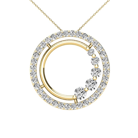 14Kt Yellow Gold 0.40 Ct Genuine Natural Diamond Open Circle Design Pendant Necklace