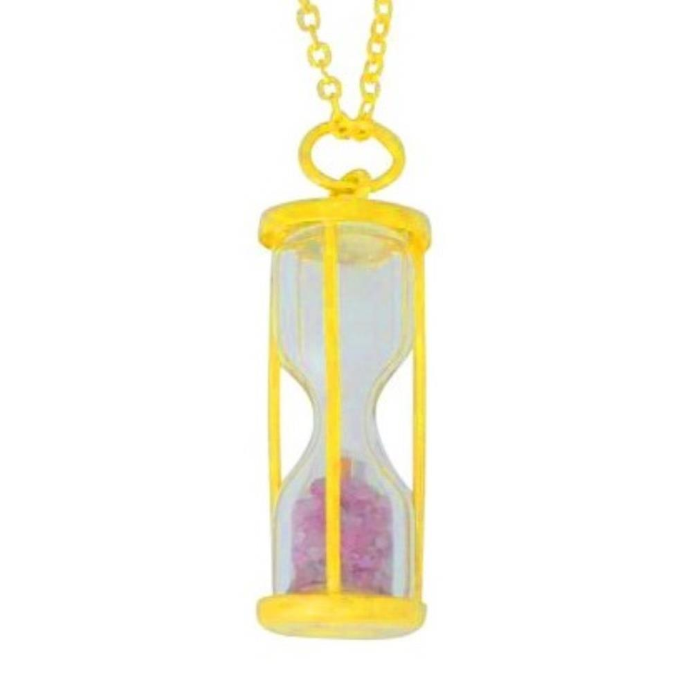 Natural Pink Tourmaline 'Time in Bottle' Dust Hourglass Pendant 14Kt Yellow Gold Plated Over .925 Sterling Silver