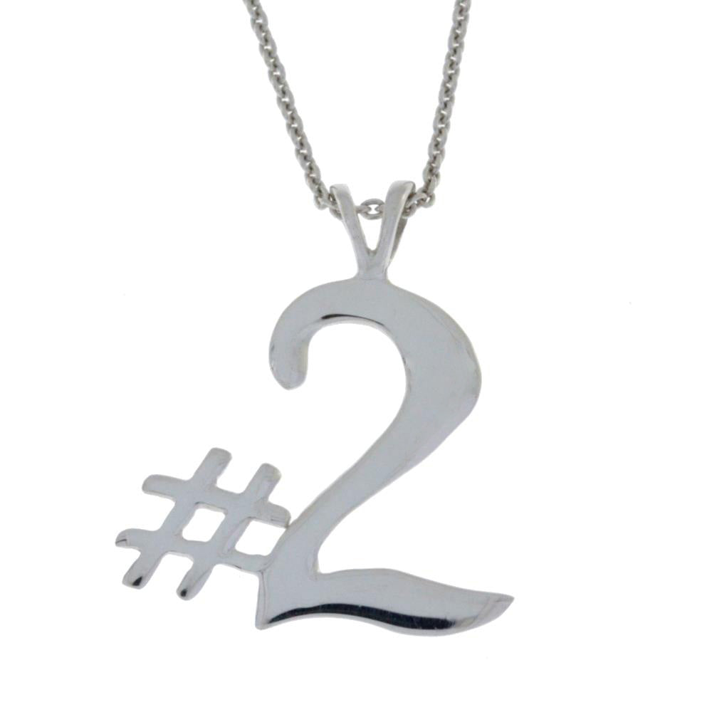 Number 2 Necklace Pendant .925 Sterling Silver