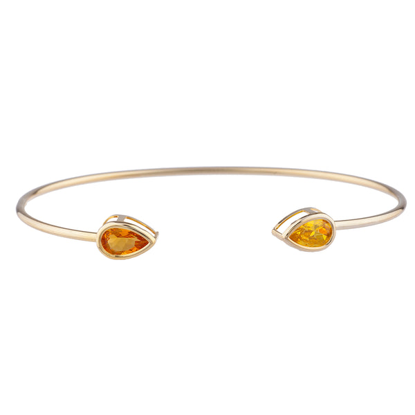 Orange & Yellow Citrine Pear Bezel Bangle Bracelet 14Kt Yellow Gold Plated Over .925 Sterling Silver