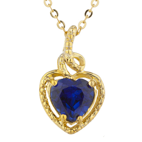 14Kt Gold Blue Sapphire Heart Design Pendant Necklace