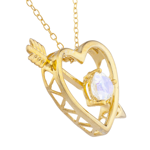 14Kt Yellow Gold Plated Natural Mercury Mist Mystic Topaz Heart Bow & Arrow Pendant