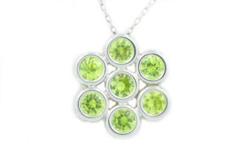 2 Ct Peridot Round Bezel Pendant .925 Sterling Silver Rhodium Finish