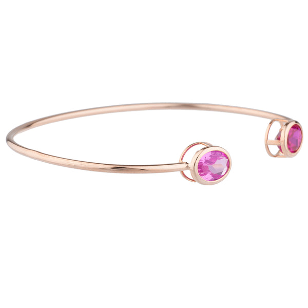 Created Ruby & Pink Sapphire Oval Bezel Bangle Bracelet 14Kt Rose Gold Plated Over .925 Sterling Silver