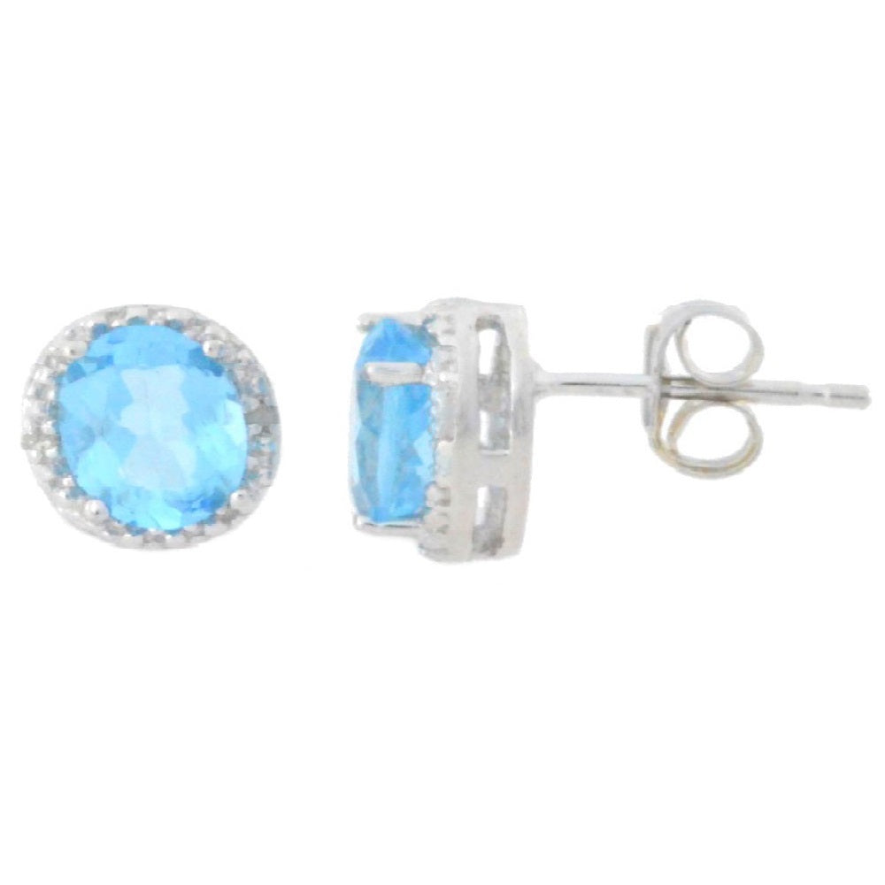 2 Ct Blue Topaz & Diamond Round Stud Earrings 14Kt White Gold