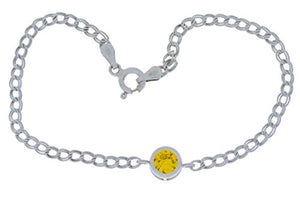 1 Ct Yellow Citrine Round Bezel Bracelet .925 Sterling Silver Rhodium Finish