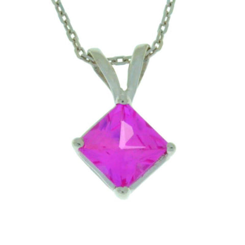 14Kt Gold Pink Sapphire Princess Cut Pendant Necklace