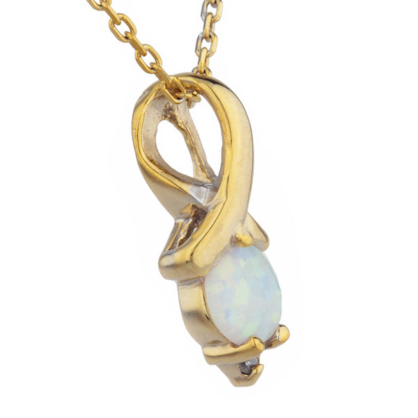 14Kt Yellow Gold Plated Genuine Opal & Diamond Round Design Pendant