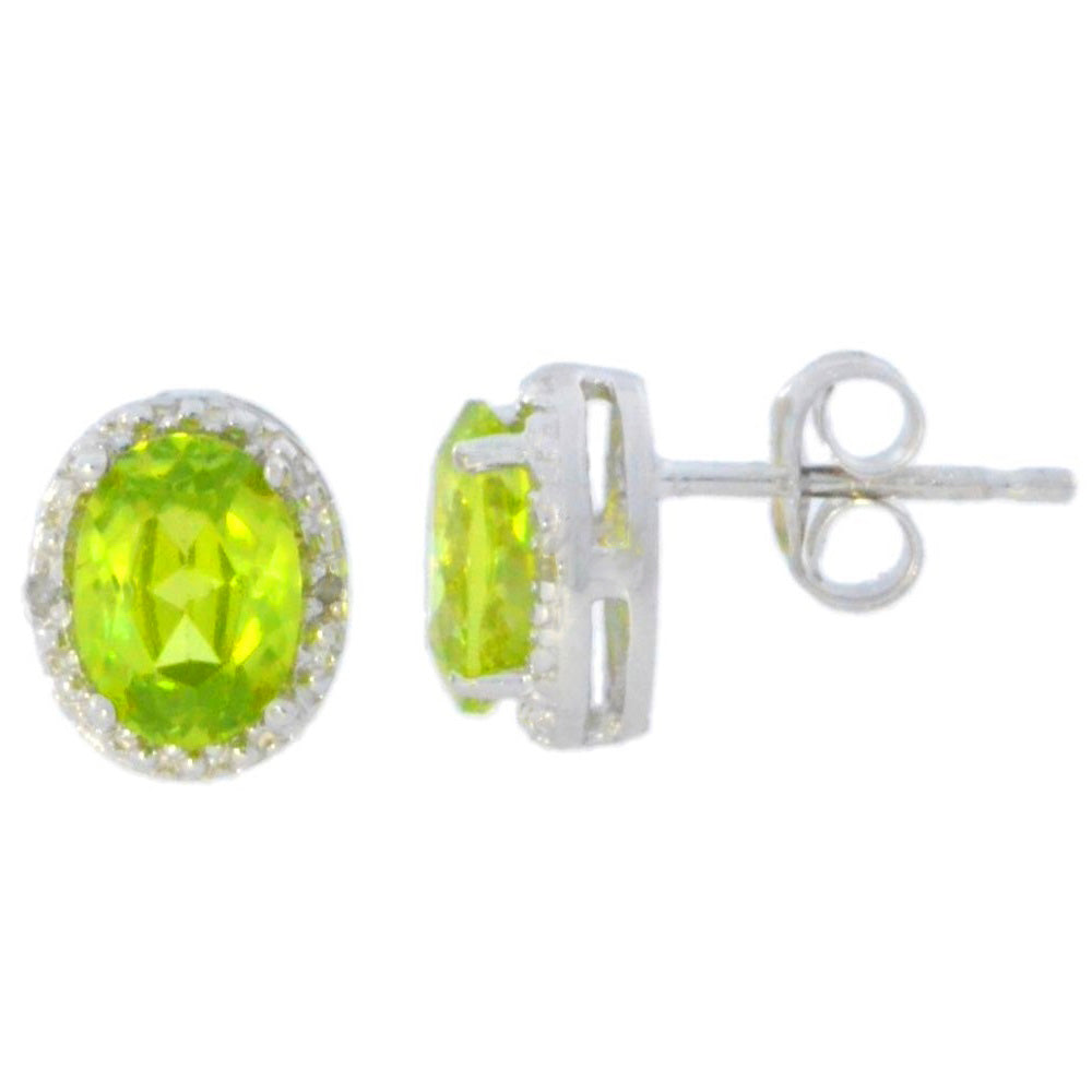 2 Ct Peridot & Diamond Oval Stud Earrings 14Kt White Gold