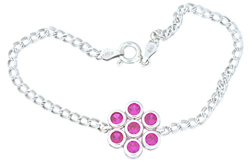 1.75 Ct Created Ruby Bezel Bracelet .925 Sterling Silver Rhodium Finish