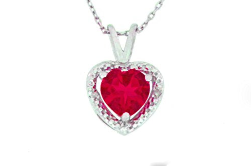 1 Ct Created Ruby & Diamond Heart Pendant .925 Sterling Silver Rhodium Finish