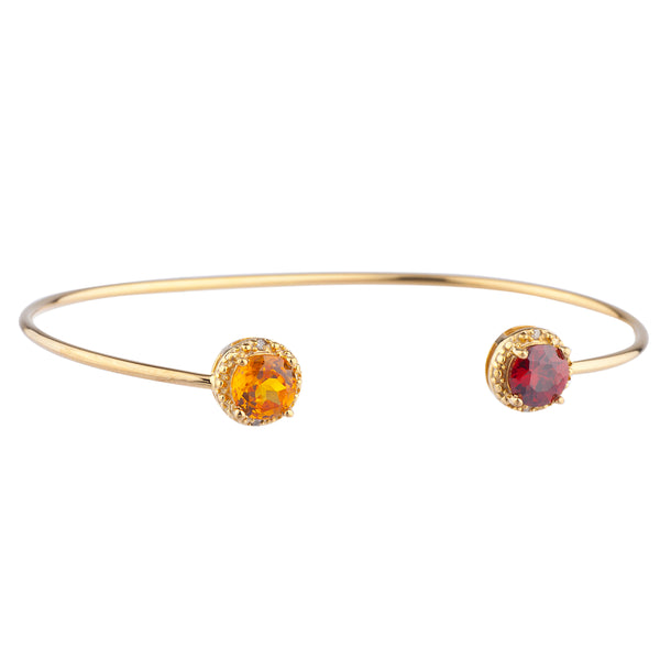 Citrine & Garnet Diamond Bangle Round Bracelet 14Kt Yellow Gold Plated Over .925 Sterling Silver