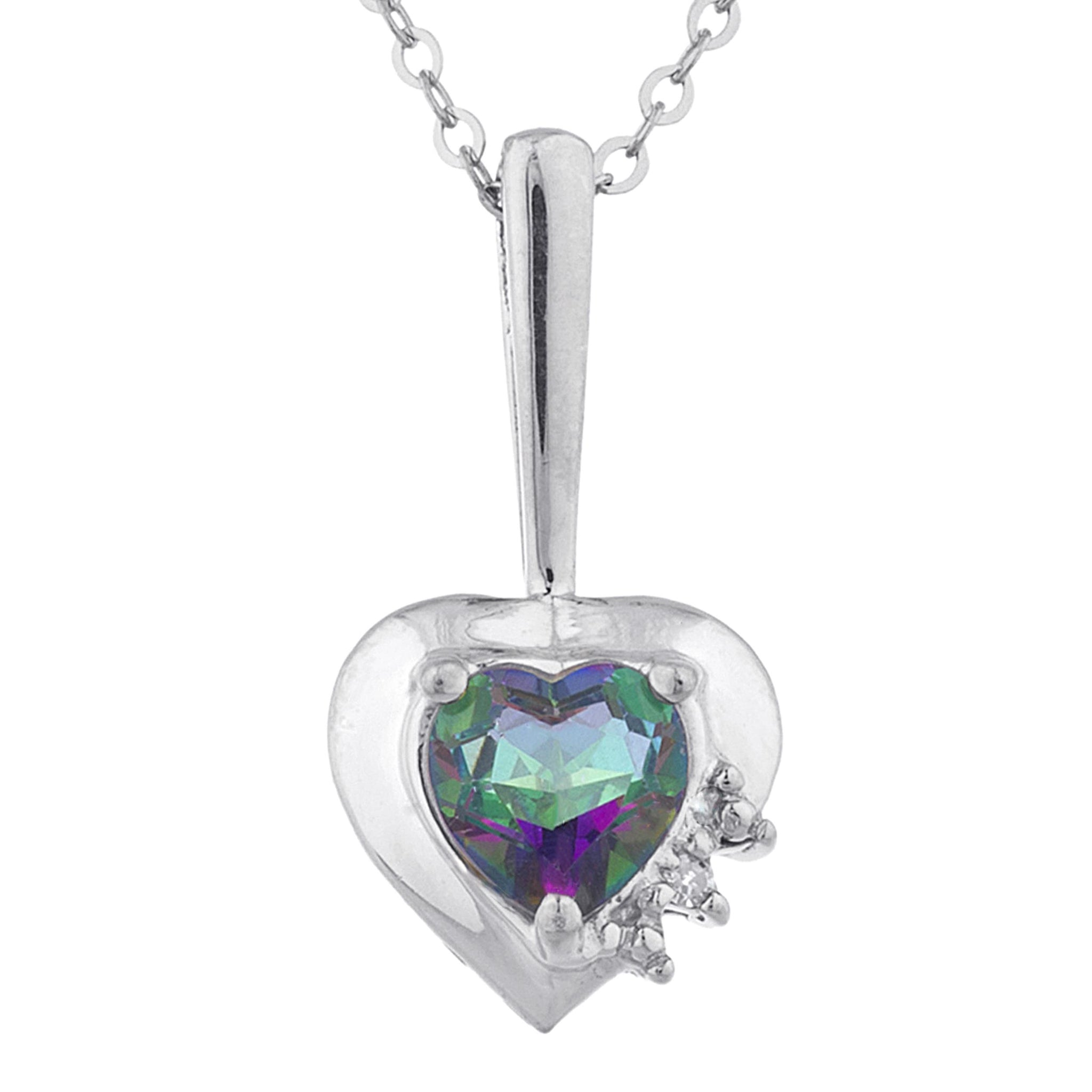 Natural Mystic Topaz & Diamond Heart Pendant .925 Sterling Silver