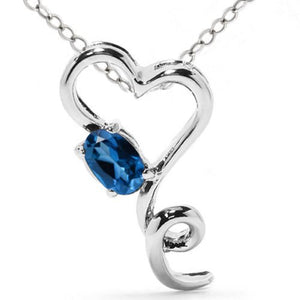 0.50 Ct Tanzanite Oval Heart Pendant .925 Sterling Silver Rhodium Finish