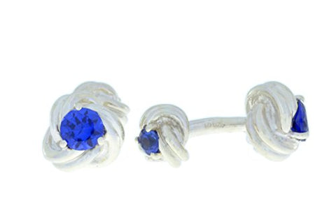 2.5 Ct Created Blue Sapphire Knot Cufflinks .925 Sterling Silver Rhodium Finish