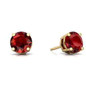 2 Ct Garnet Round Stud Earrings 14Kt Yellow Gold