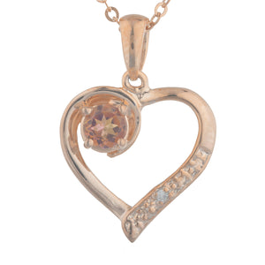 14Kt Rose Gold Plated Natural Ecstasy Mystic Topaz & Diamond Heart Pendant