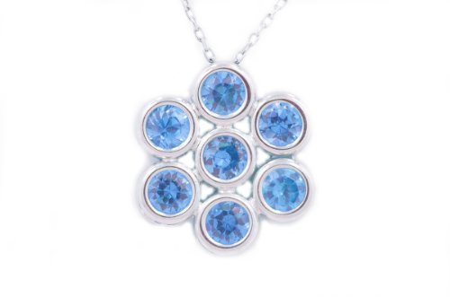 2 Ct Tanzanite Round Bezel Pendant .925 Sterling Silver Rhodium Finish