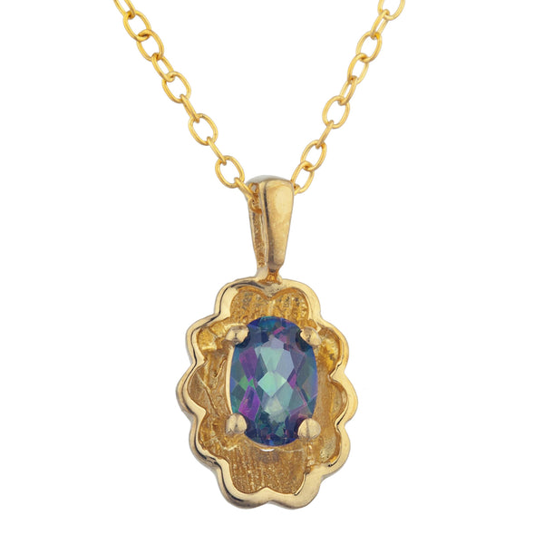 14Kt Yellow Gold Plated Natural Mystic Topaz Oval Design Pendant