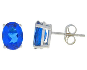 3 Carat Blue Sapphire Oval Stud Earrings 14Kt White Gold