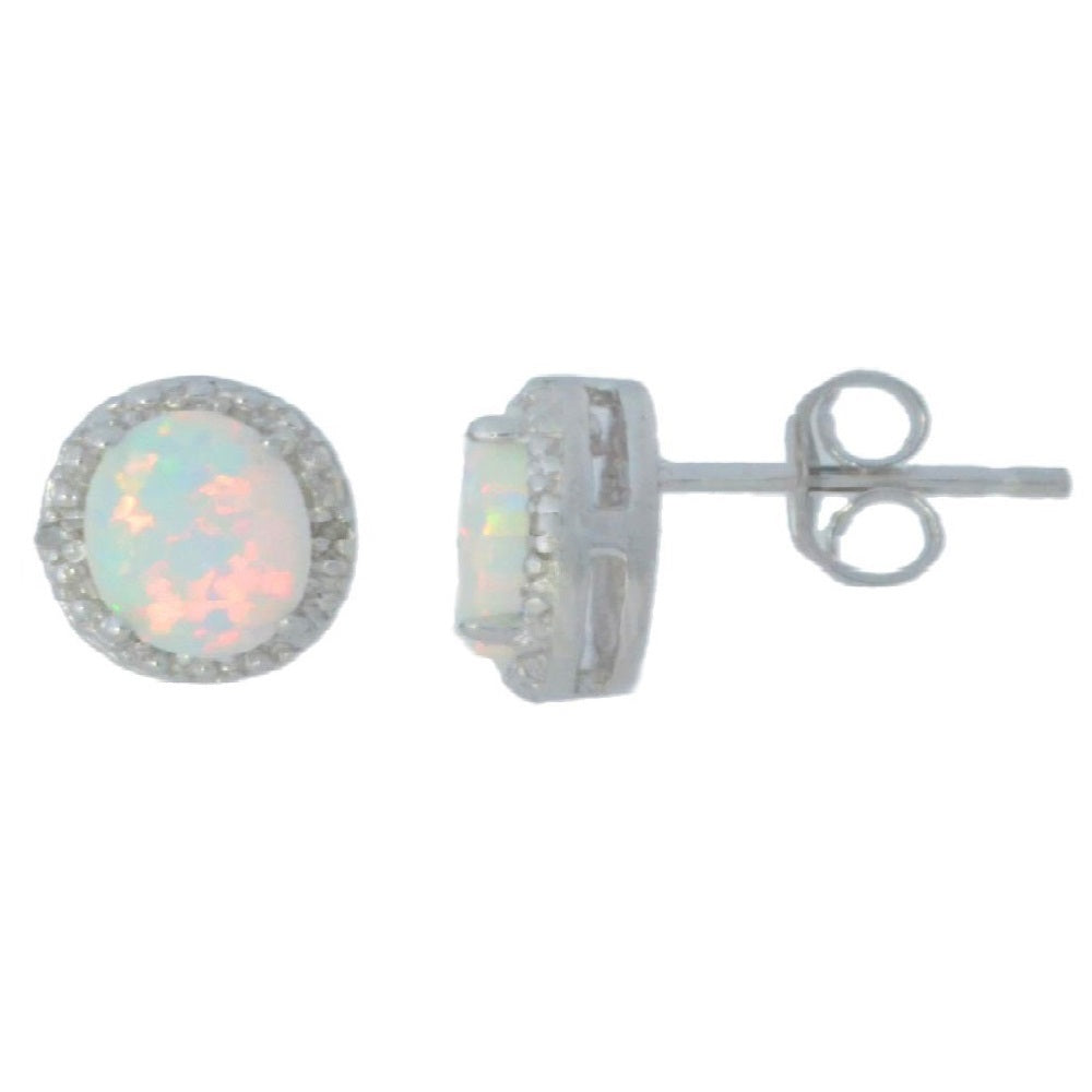 Opal & Diamond Round Stud Earrings 14Kt White Gold