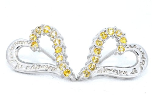 Always & Forever Engraving Citrine Heart Stud Earrings .925 Sterling Silver