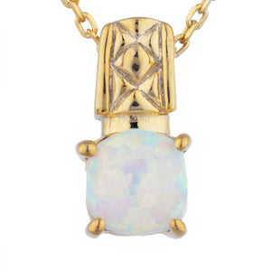 14Kt Yellow Gold Plated Opal Round Design Pendant