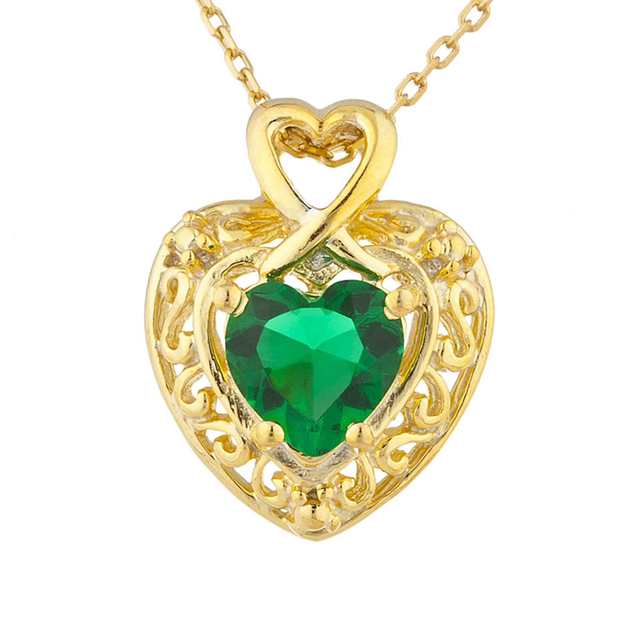 14Kt Yellow Gold Plated Emerald Heart Design Pendant