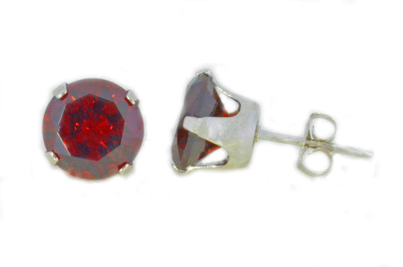 14Kt White Gold Garnet Round Stud Earrings