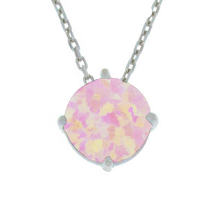 14Kt Gold Pink Opal Round Pendant Necklace