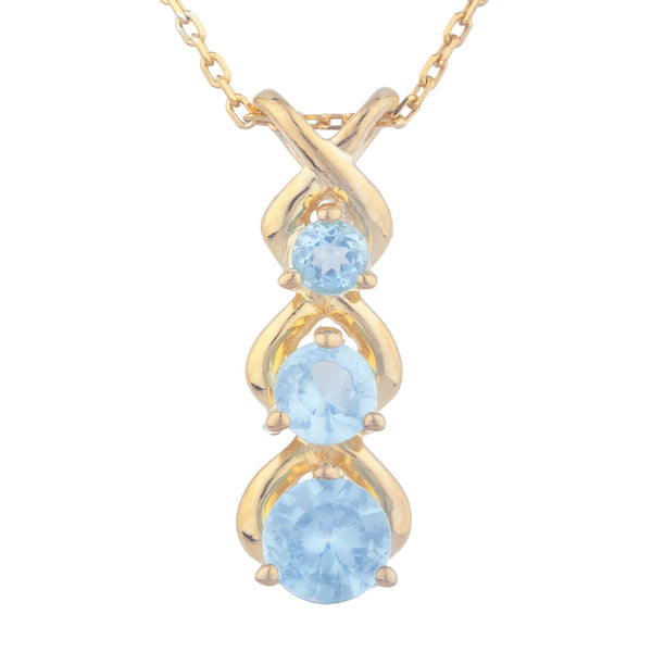 14Kt Yellow Gold Plated Blue Topaz Round Past Present Future Pendant