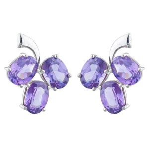9 Ct Alexandrite Oval Design Stud Earrings .925 Sterling Silver