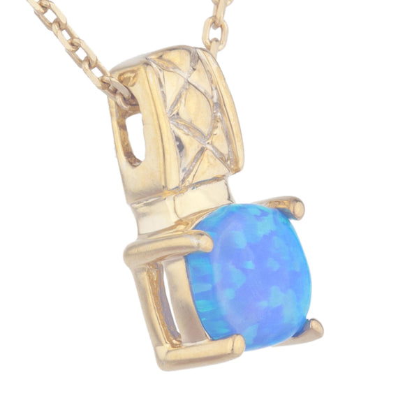 14Kt Yellow Gold Plated Blue Opal Round Design Pendant