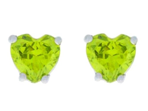 2 Ct Peridot Heart Stud Earrings 14Kt White Gold