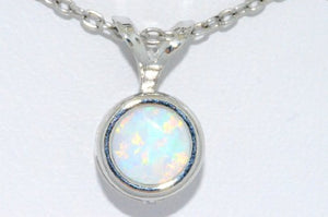 Opal Round Bezel Pendant .925 Sterling Silver Rhodium Finish