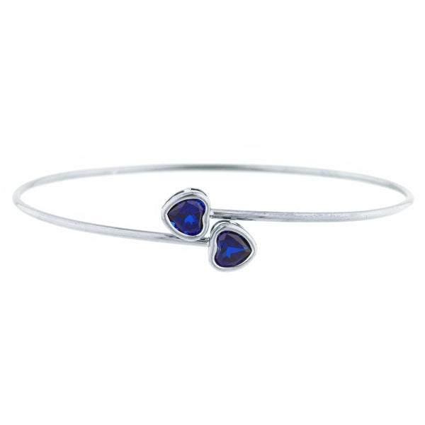 2 Ct Blue Sapphire Heart Bezel Bangle Bracelet .925 Sterling Silver