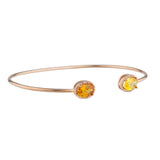 Orange & Yellow Citrine Diamond Bangle Oval Bracelet 14Kt Rose Gold Plated Over .925 Sterling Silver