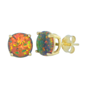 14Kt Yellow Gold Black Opal 6mm Round Stud Earrings