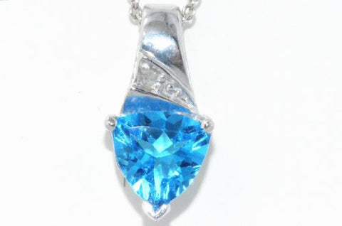 1.5 Ct Swiss Blue Topaz Trillion Diamond Pendant .925 Sterling Silver Rhodium Finish