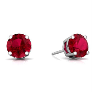 14Kt White Gold Created Ruby 5mm Round Stud Earrings
