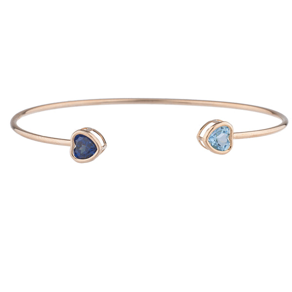 Created Blue Sapphire & Blue Topaz Heart Bezel Bangle Bracelet 14Kt Rose Gold Plated Over .925 Sterling Silver